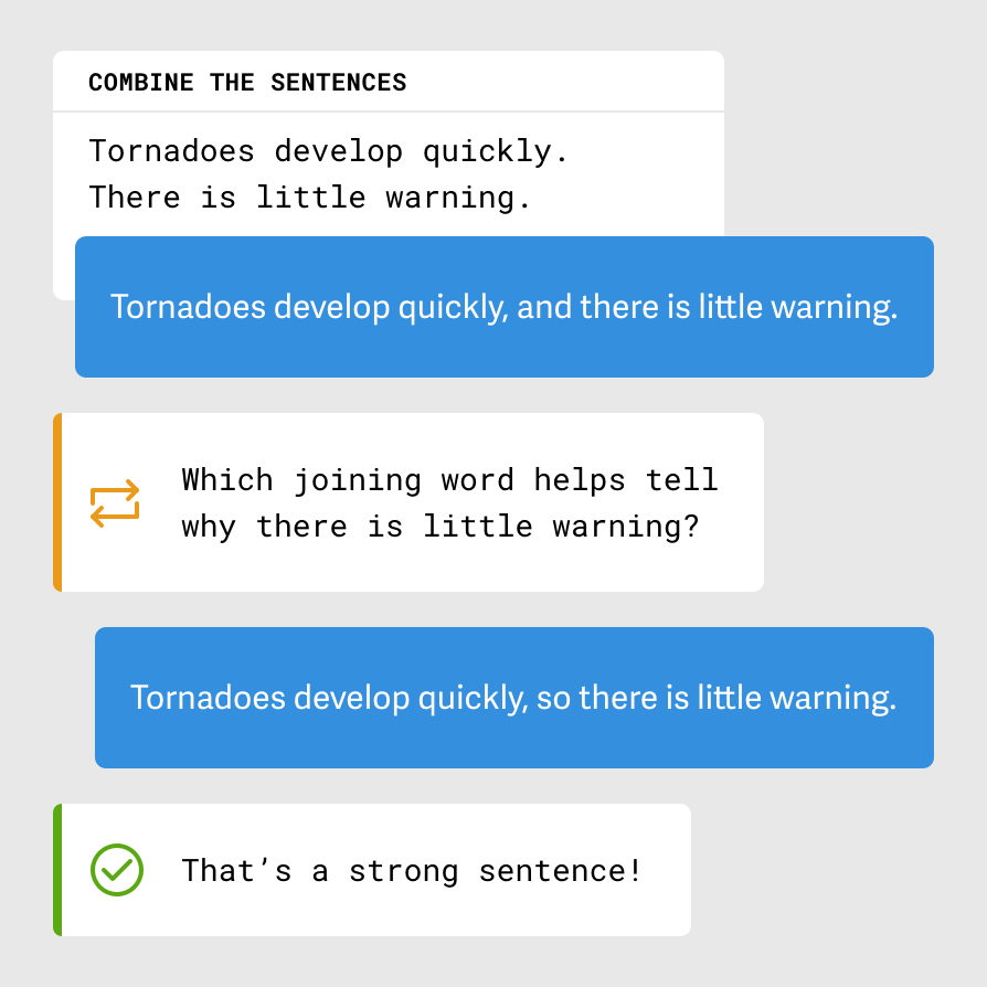 A diagram showing a Connect activity prompt, a response to that prompt, the feedback the student received, their revised response, and feedback that the second submission was 'a strong sentence!'